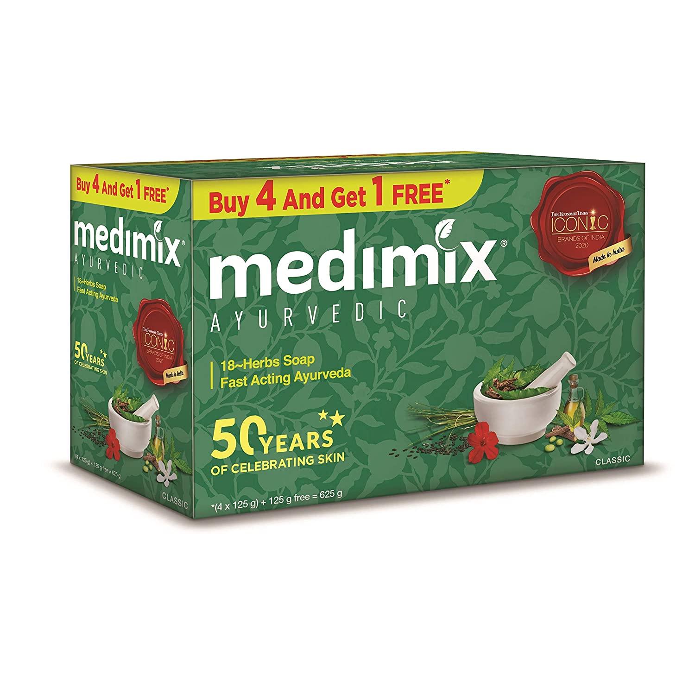 Medimix Ayurvedic Classic 18 Herbs Soap, 125 gm (4 + 1 Offer Pack)
