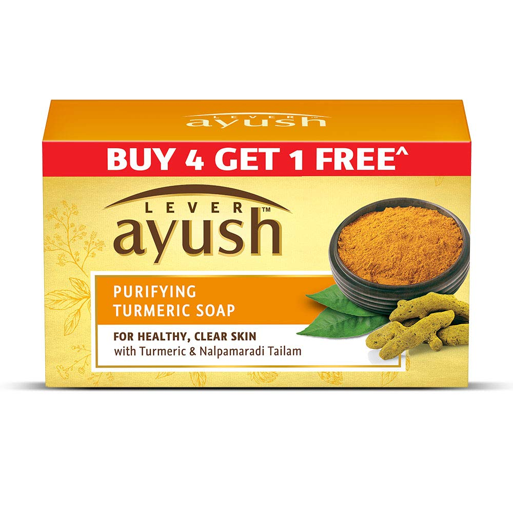 Lever Ayush Purifying Turmeric Soap, 100 gm (Buy 4 Get 1)