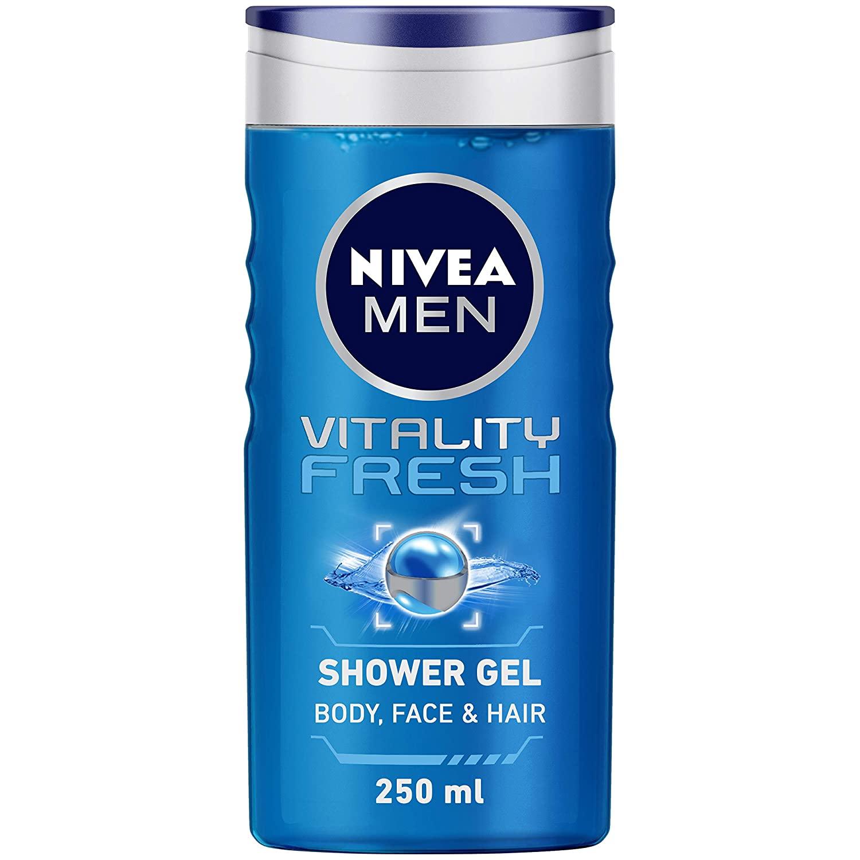 NIVEA Men Body Wash, Vitality Fresh with Ocean Minerals, Shower Gel for Body, Face & Hair, 250 ml
