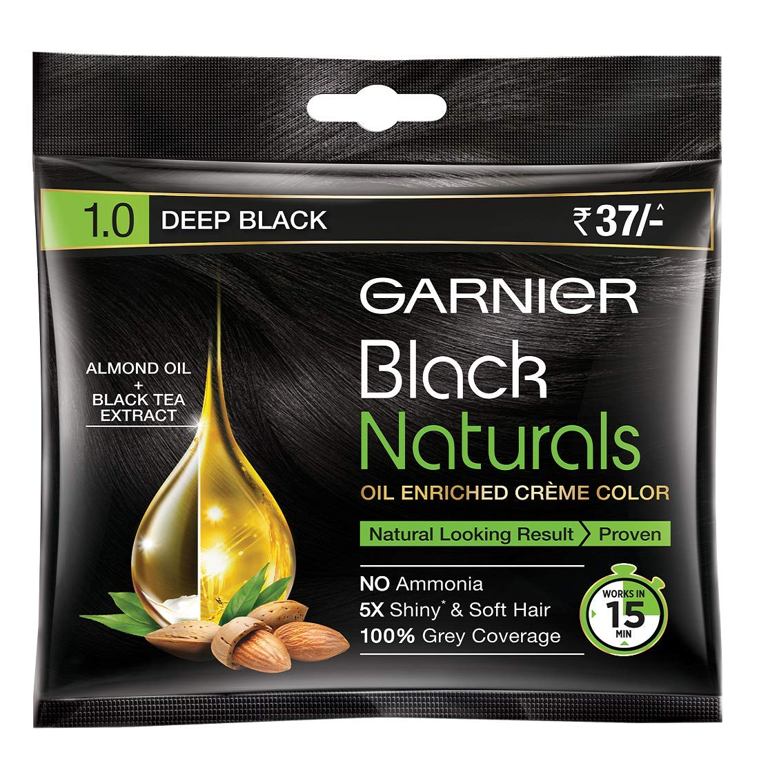 Garnier Black Naturals, Shade 1 Deep Black, 20ml+20gm