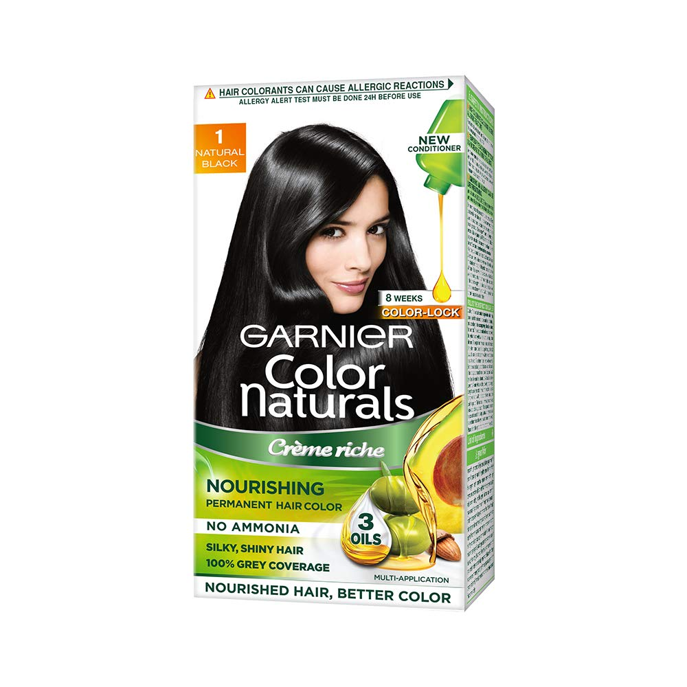 Garnier Color Naturals Crème hair color, Shade 1 Natural Black, 70ml + 60gm