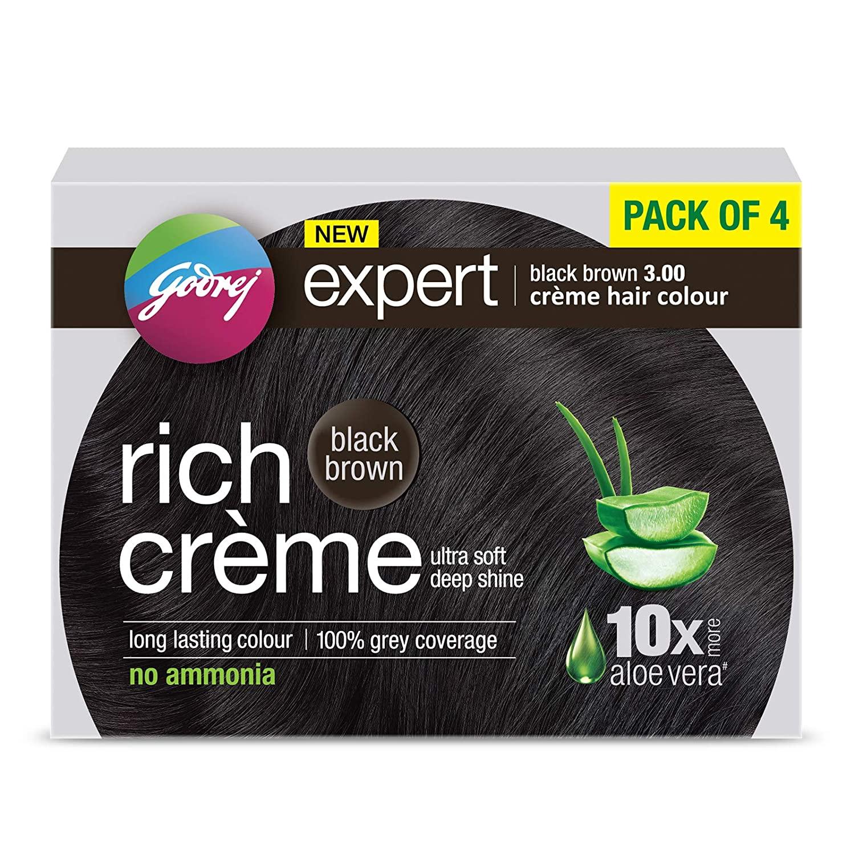 Godrej Expert Rich CrèGodrej Expert Rich Crème Hair Colour Shade 3 BLACK BROWN, Pack of 4,80g+80ml me Hair Colour Shade 3 BLACK BROWN, Pack of 4
