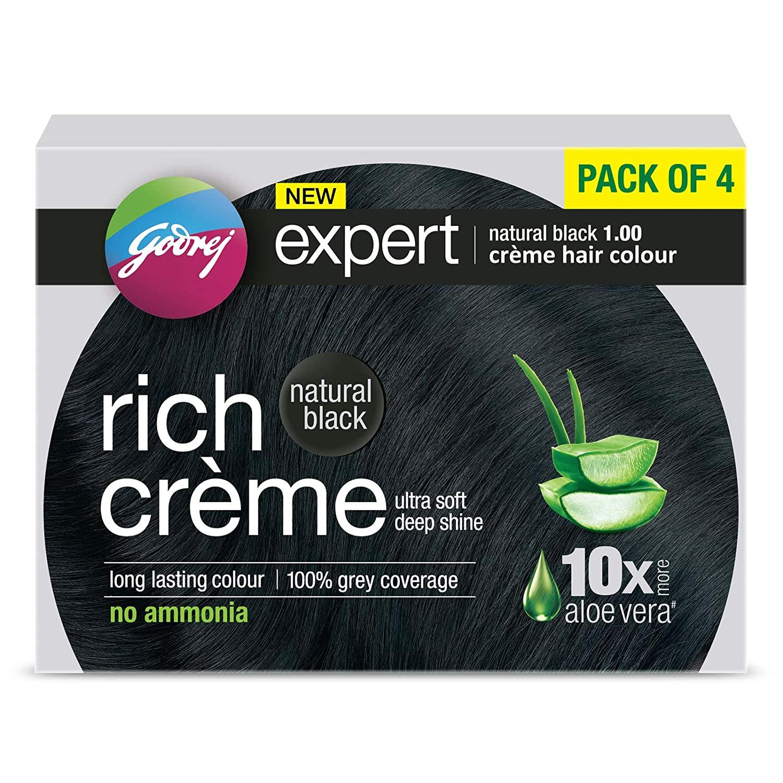 Godrej Expert Rich Crème Hair Colour Shade - Pack of 4 (NATURAL BLACK)