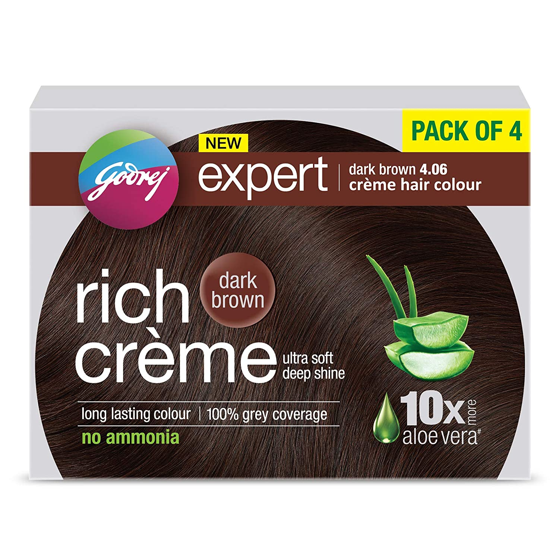 Godrej Expert Rich Crème Hair Colour Shade 4.06 DARK BROWN, Pack of 4