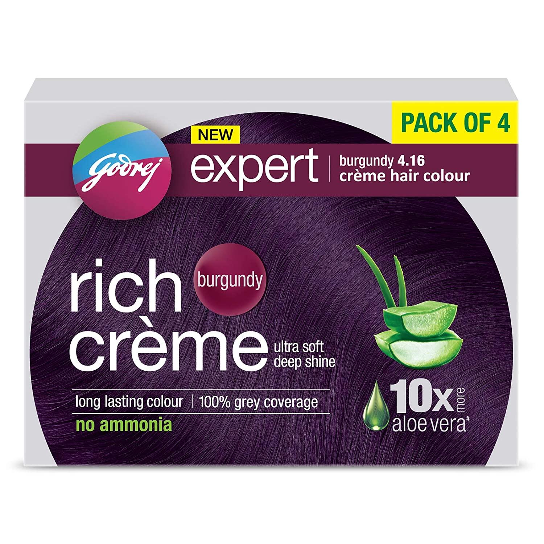 Godrej Expert Rich Crème Hair Colour Shade 4.16 BURGUNDY, Pack of 4