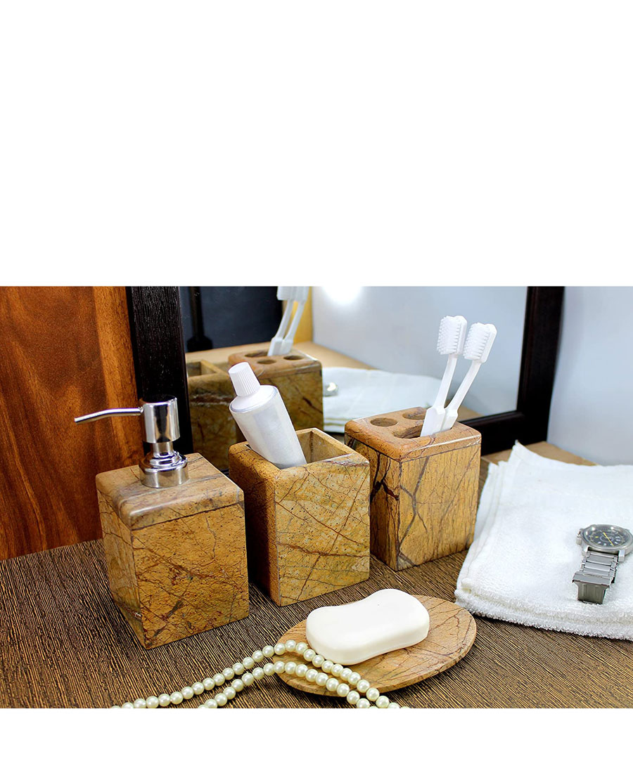 Bath Accessories Set of 4 in Natural Marble Stone | Soap Dispenser | Soap Dish | Toothbrush-Toothpaste Holder