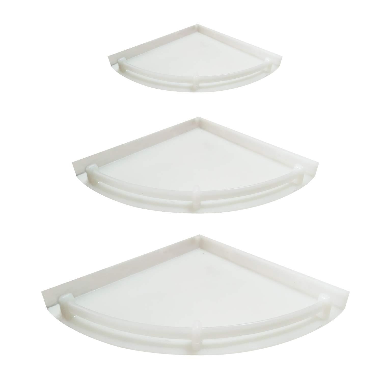 Unbreakable Premium Quality 3 Tiers White Corner Set of Plastic Bathroom Corner Shelves | Shower Shelf | Kitchen Storage Corner Shelves Shower Caddy (Pack of 3)