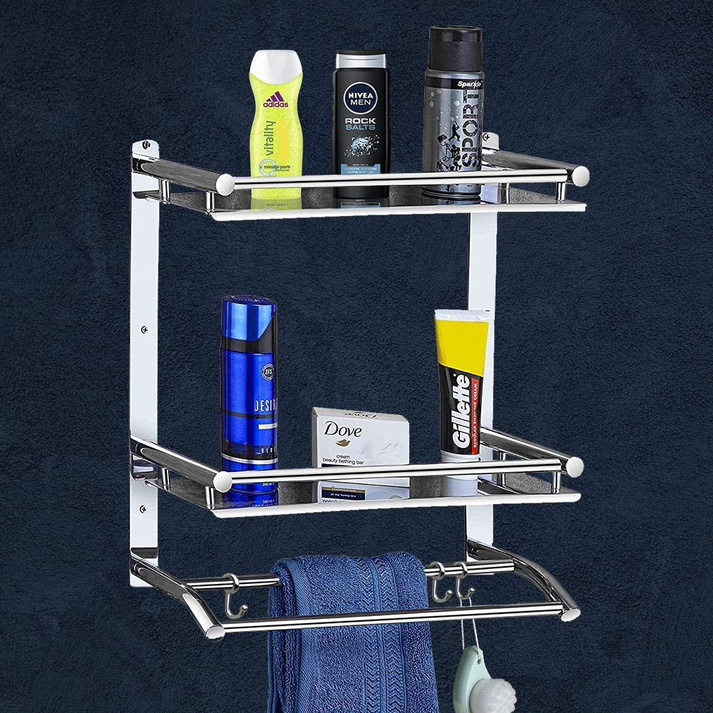 Deluxe High Grade Stainless Steel Multipurpose 3-Tier Bathroom Shelf with Towel Holder/Towel Hooks/Bathroom Accessories Wall-Mount