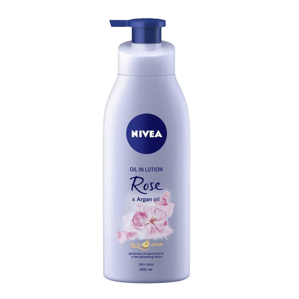 NIVEA Body Lotion, Oil in Lotion Rose & Argan Oil, For Dry Skin, 400ml
