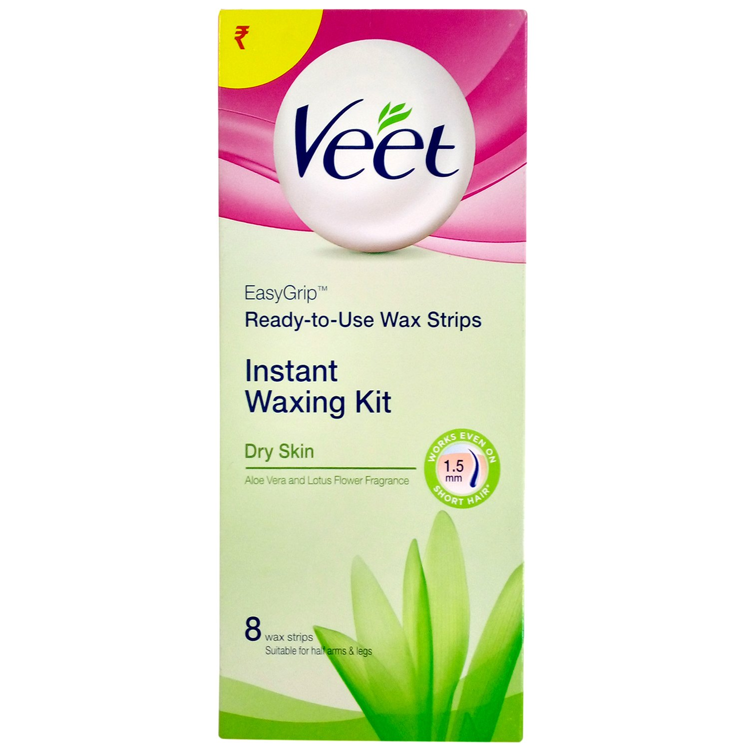 Veet Instant Waxing Kit for Dry Skin, 8 Pieces Carton