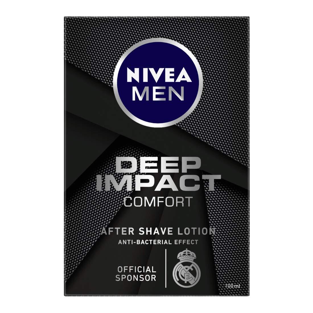 NIVEA Men Shaving, Deep Impact Comfort After Shave Lotion, Anti Bacterial Effect, 100 ml