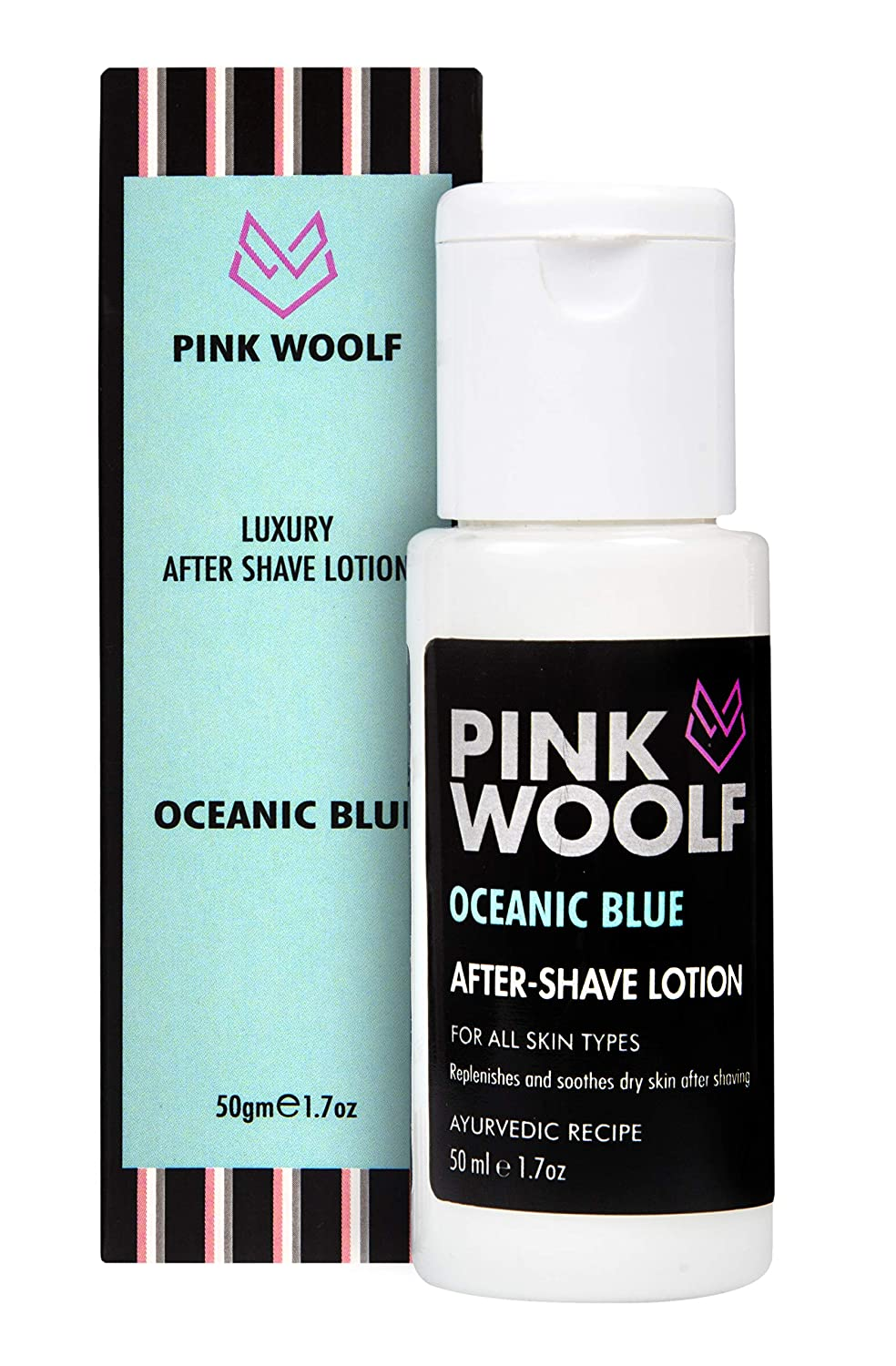 Pink Woolf After Shave Lotion for Men (Oceanic Blue) - 50ml for Cool Moisturized Skin