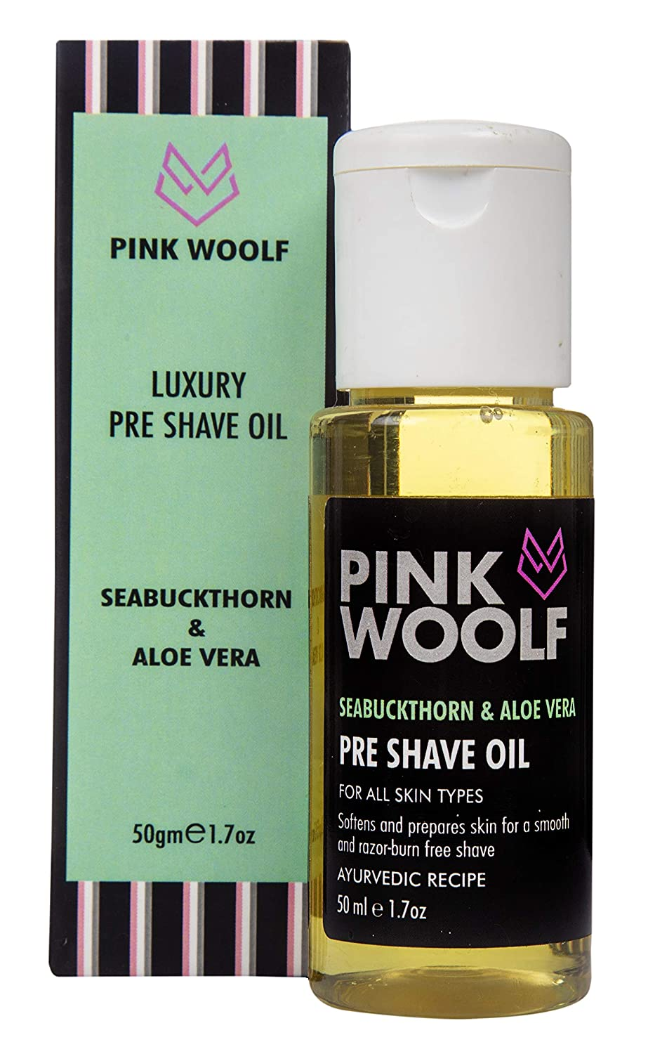 Pink Woolf Pre Shave Oil for Men | SEABUCKTHORN & ALOE VERA | Tea Tree and Olive Oil | Apply Before Shave for a Smooth Shave with no Razor Burns | 50ml