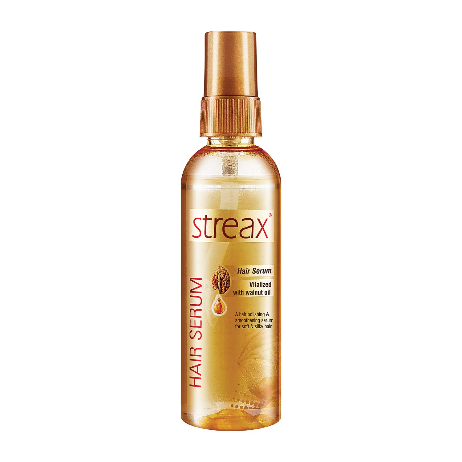 Streax Hair Serum for Women & Men   Contains Walnut Oil   Instant Shine & Smoothness   Regular use Hair Serum for Dry & Wet Hair   Gives frizz – free Hair   Soft & Silky Touch,100ml