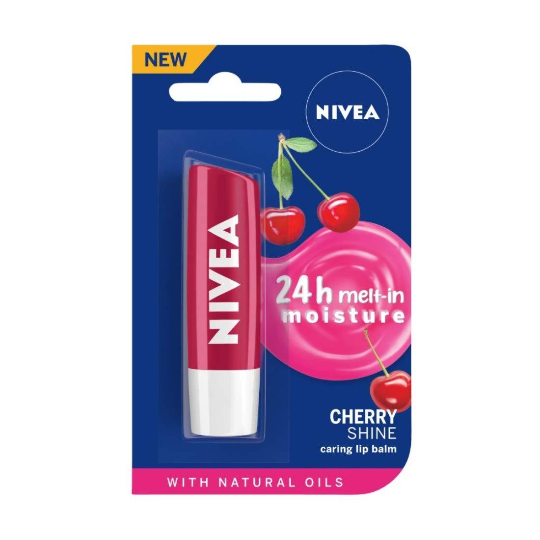 NIVEA Lip Balm, Fruity Cherry Shine, 4.8gm
