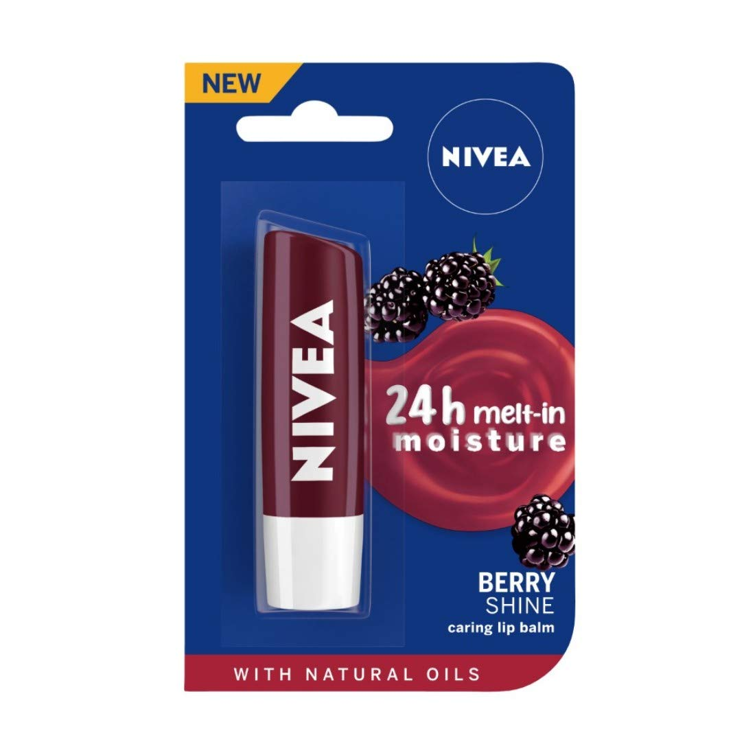 NIVEA Lip Balm, Fruity Berry Shine, 4.8gm