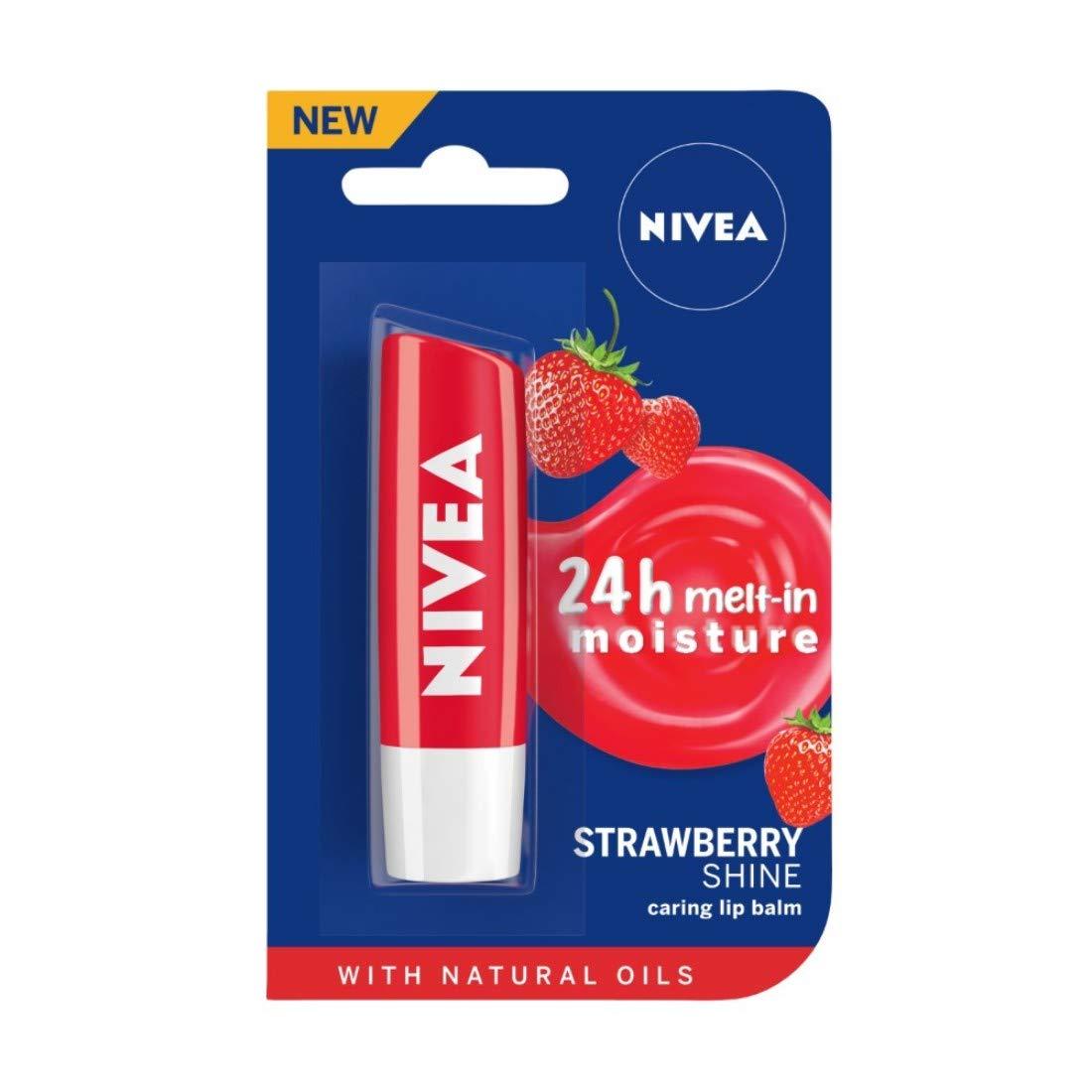 NIVEA Lip Balm, Fruity Strawberry Shine, 4.8gm