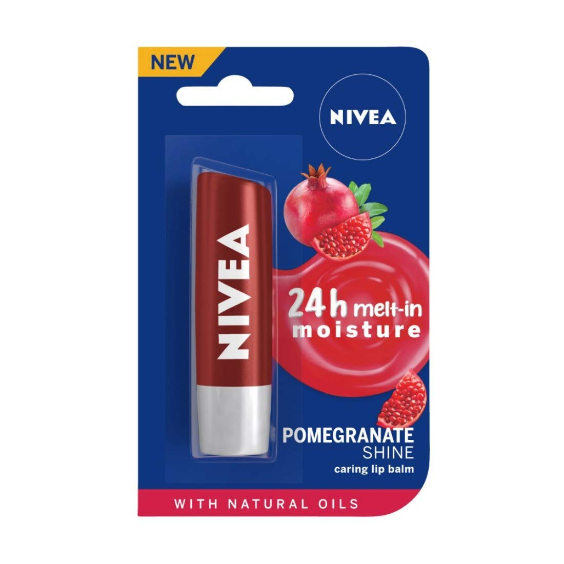 NIVEA Lip Balm, Pomegranate Shine, 4.8gm