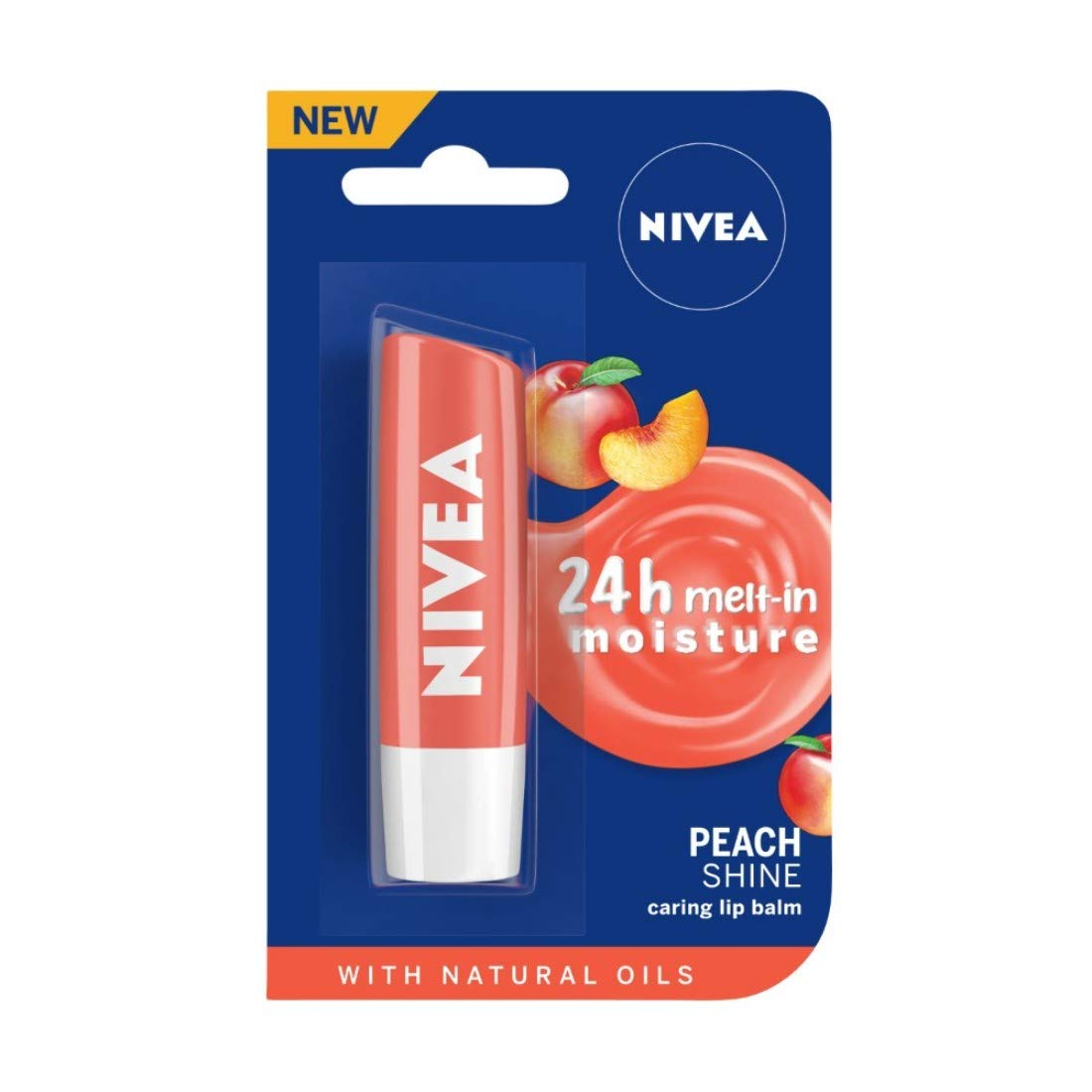 NIVEA Lip Balm, Fruity Peach Shine, 4.8gm