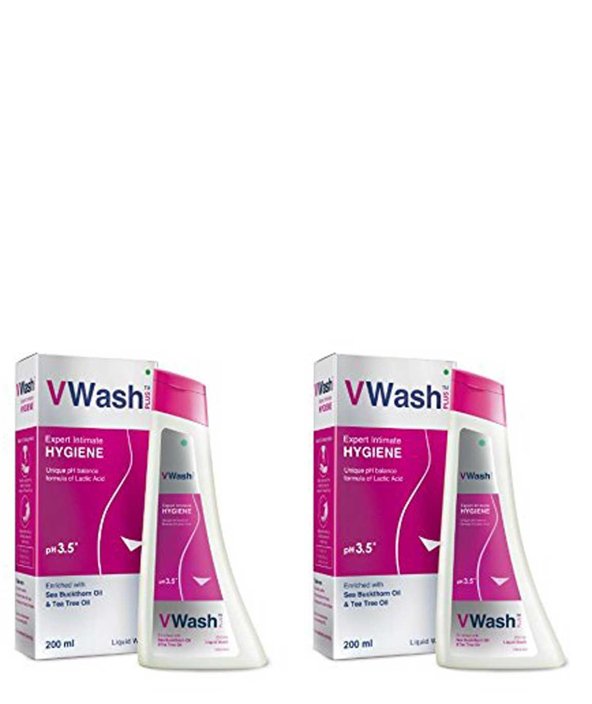 VWash Plus Intimate Hygiene Wash - 200 ml (Pack of 2)