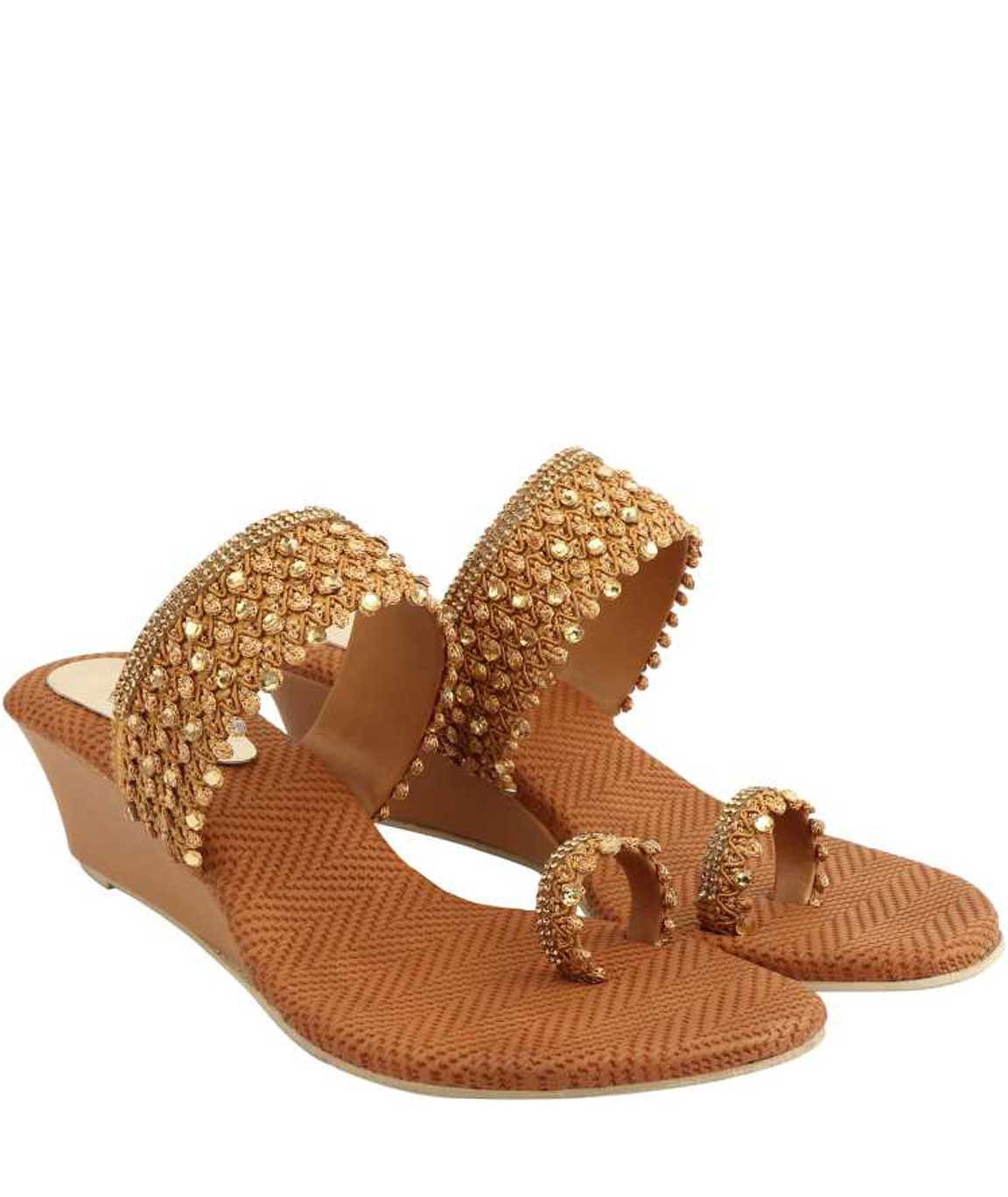 WOMEN COPPER EMBROIDERED WEDGE