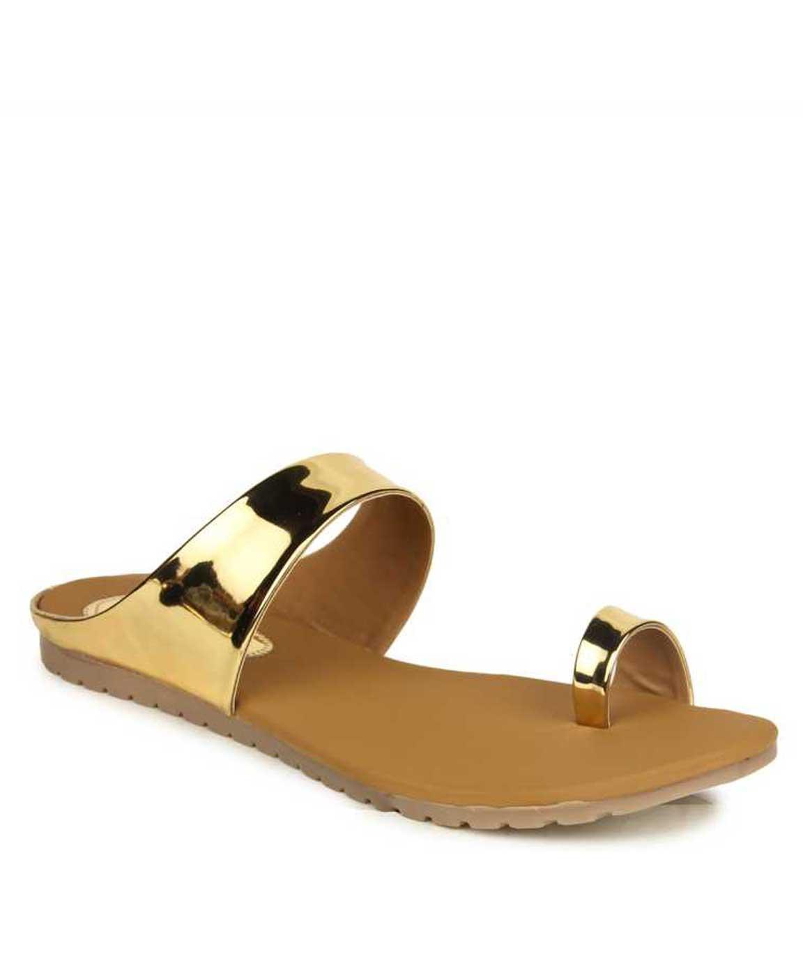 WOMEN GOLD SLIP-ON FLATS