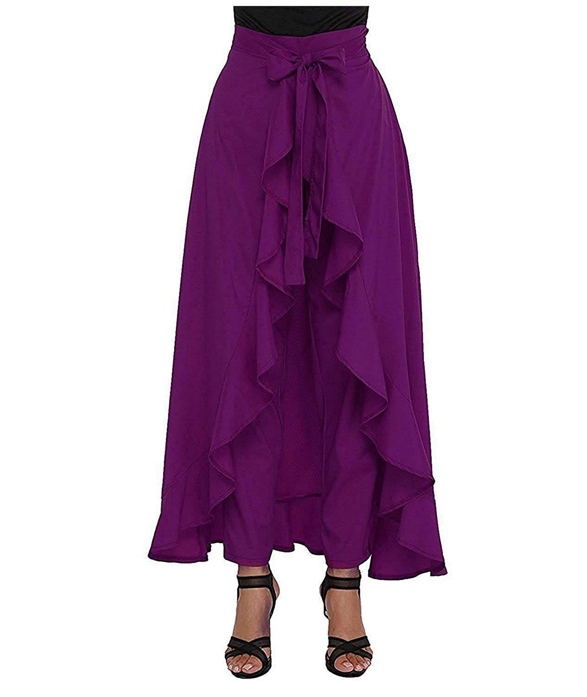 Women` Ruffle Pants Split High Waist Maxi Long Crepe Palazzo Overlay Pant Skirt(purple)