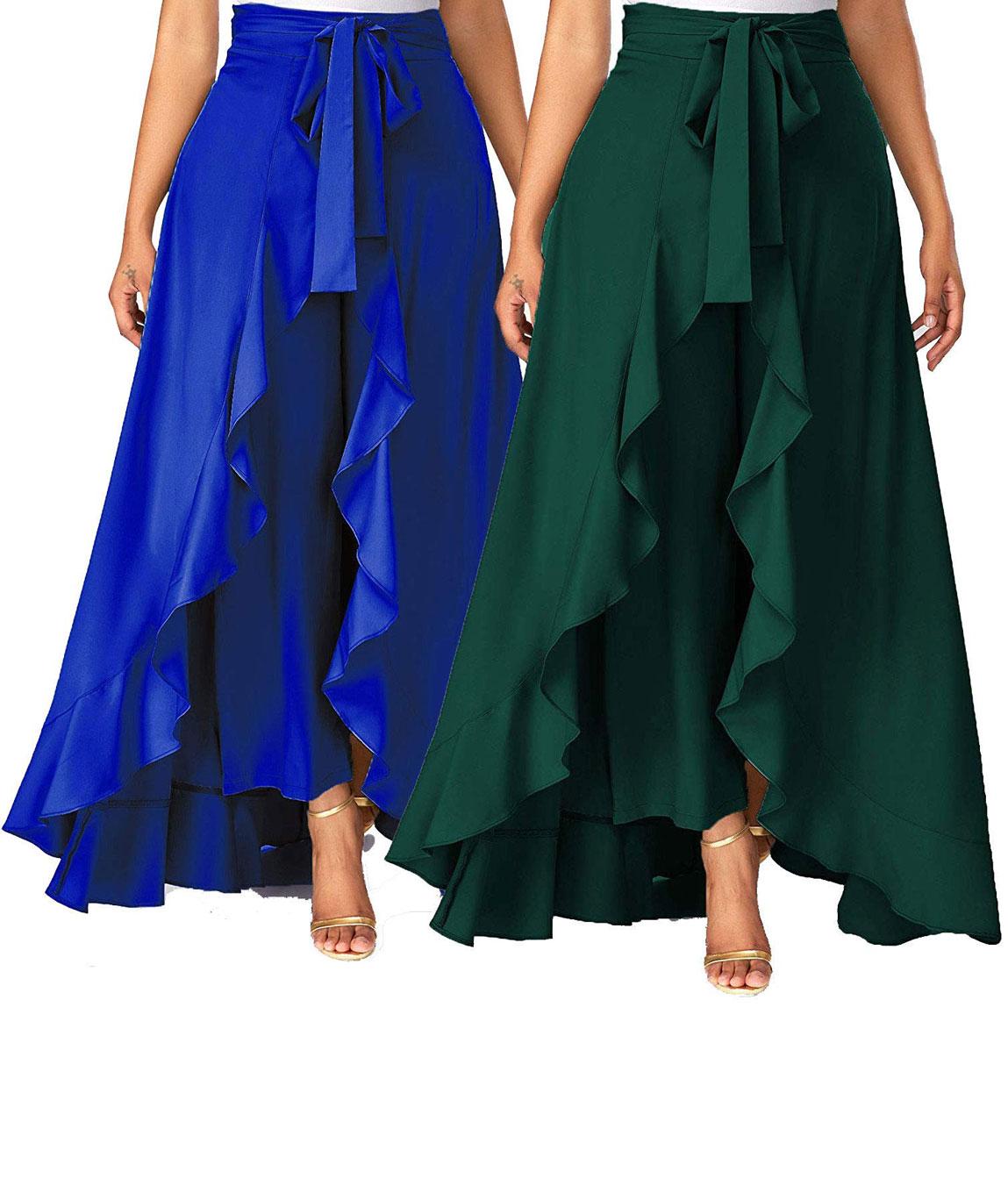 Women`s/Girls Crepe Solid Tie-Waist Layered/Ruffle Skirt Palazzo(blue&dark green)