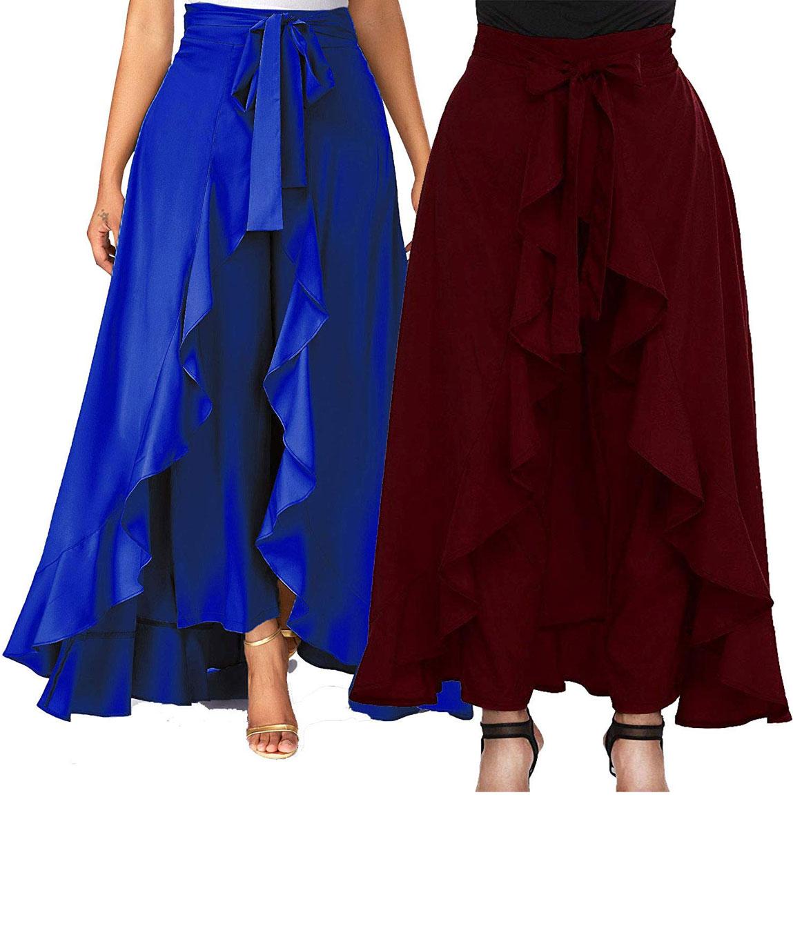 Women`s/Girls Crepe Solid Tie-Waist Layered/Ruffle Skirt Palazzo(blue&maroon)