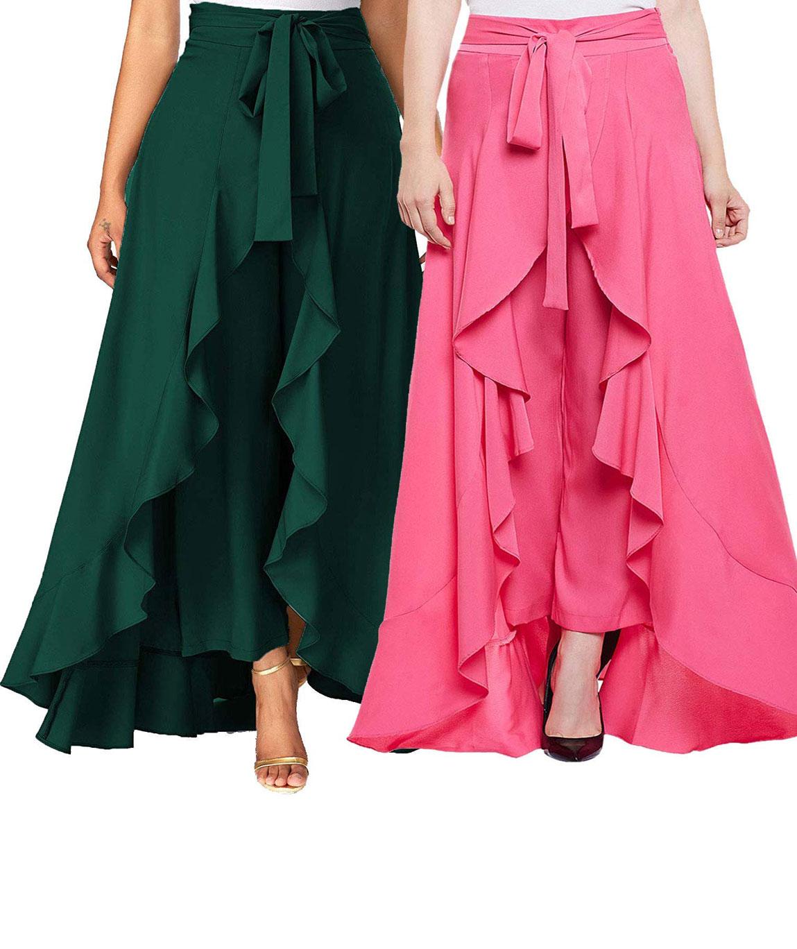 Women`s/Girls Crepe Solid Tie-Waist Layered/Ruffle Skirt Palazzo(dark green&pink)