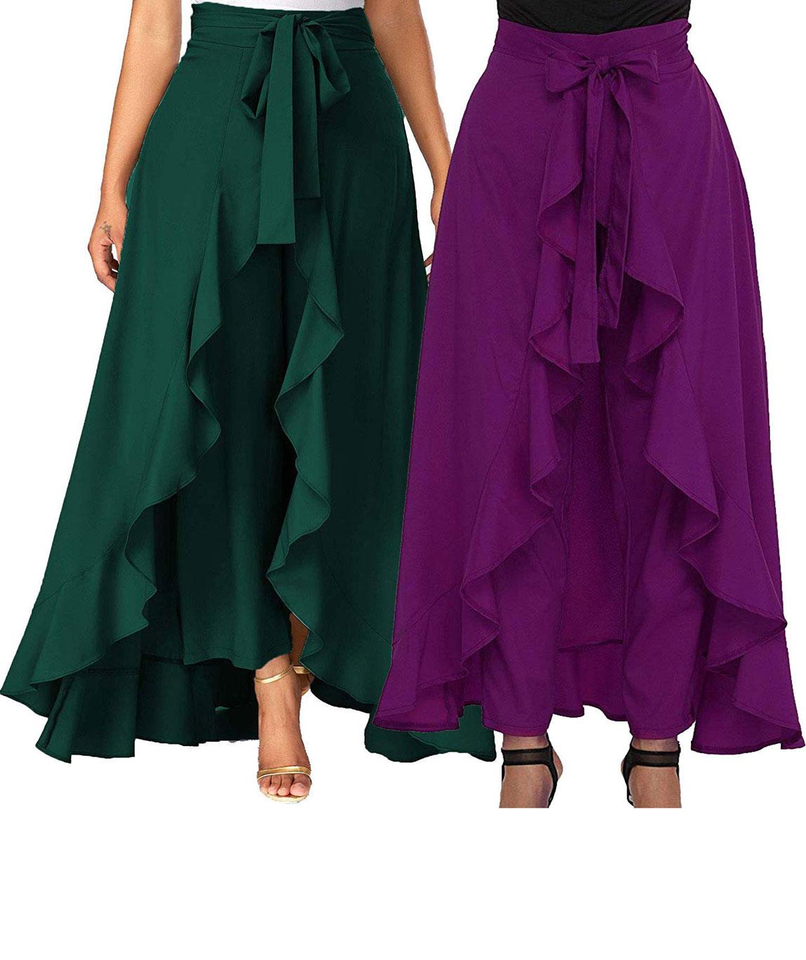 Women`s/Girls Crepe Solid Tie-Waist Layered/Ruffle Skirt Palazzo(dark green&purple)