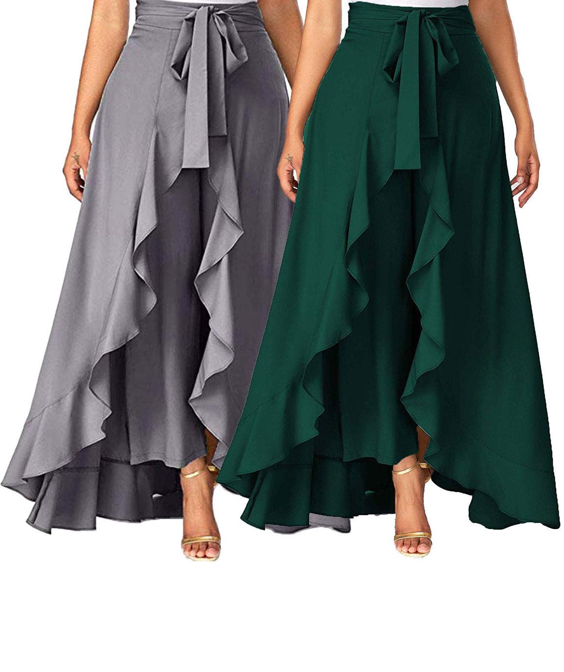 Women`s/Girls Crepe Solid Tie-Waist Layered/Ruffle Skirt Palazzo(dark green&grey)