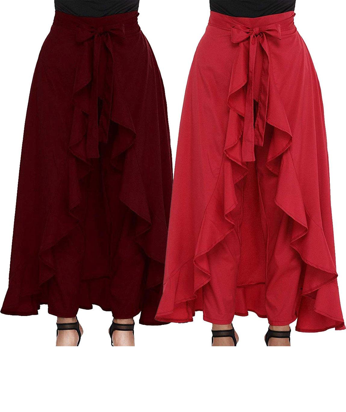 Women`s/Girls Crepe Solid Tie-Waist Layered/Ruffle Skirt Palazzo(maroon&red)