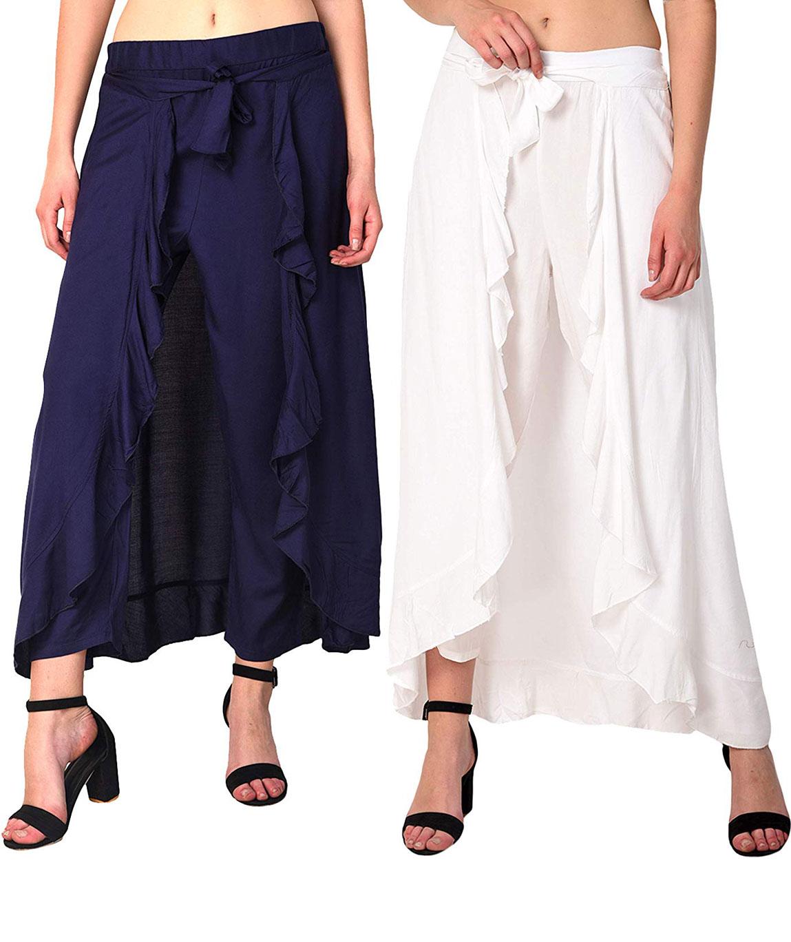 Women`s Rayon Flared Ruffle Palazzo (Pack of 2)(navy blue &white)