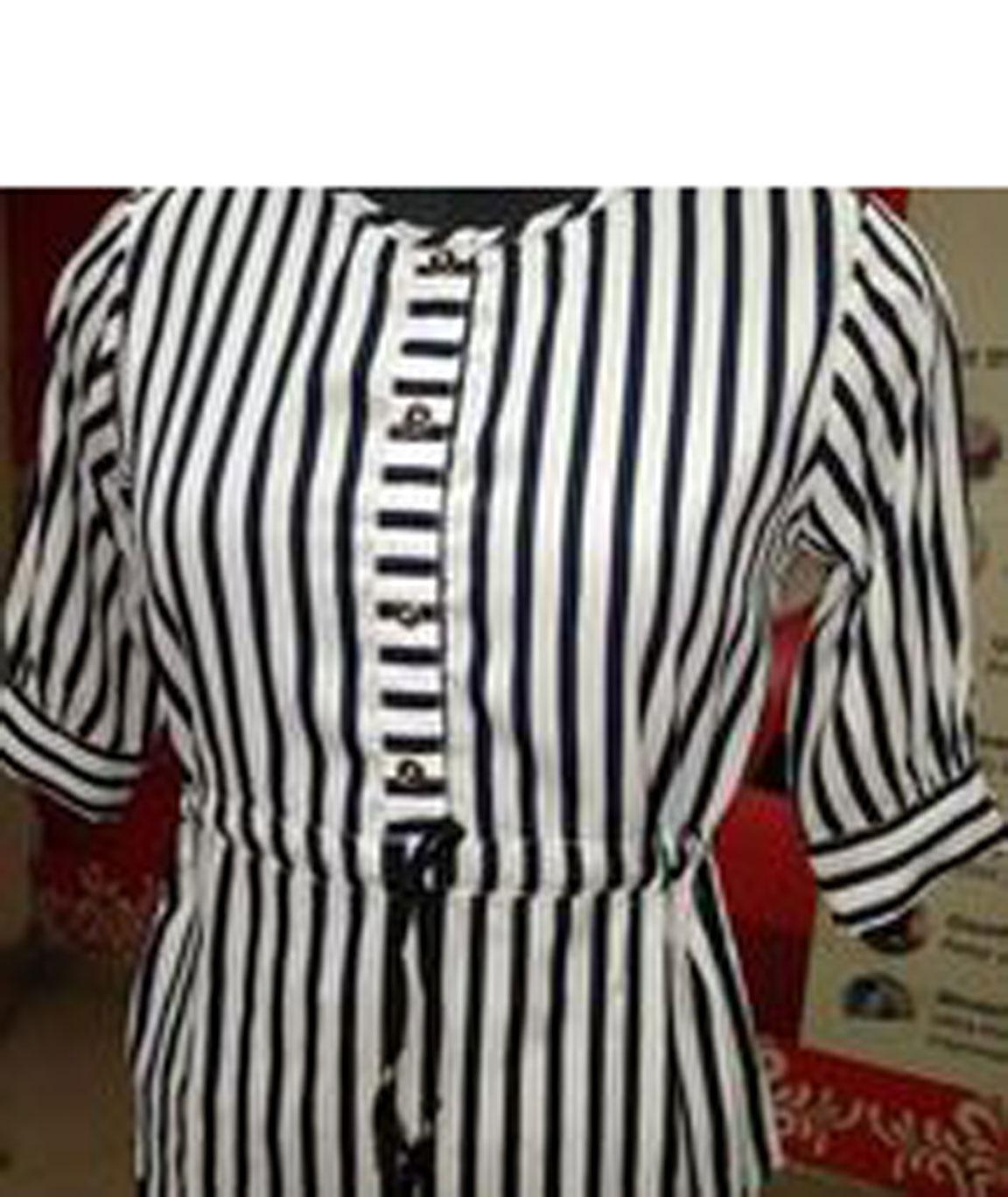 Womens black Stripped Top(White)