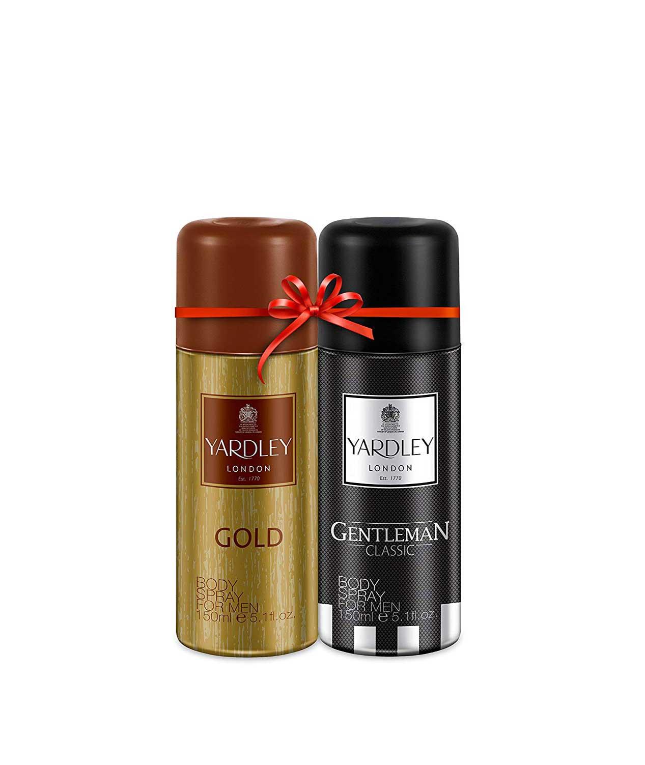 Yardley Men Deo Twinpack Gold + Gentleman Deo, 150 ml X 2 Deo