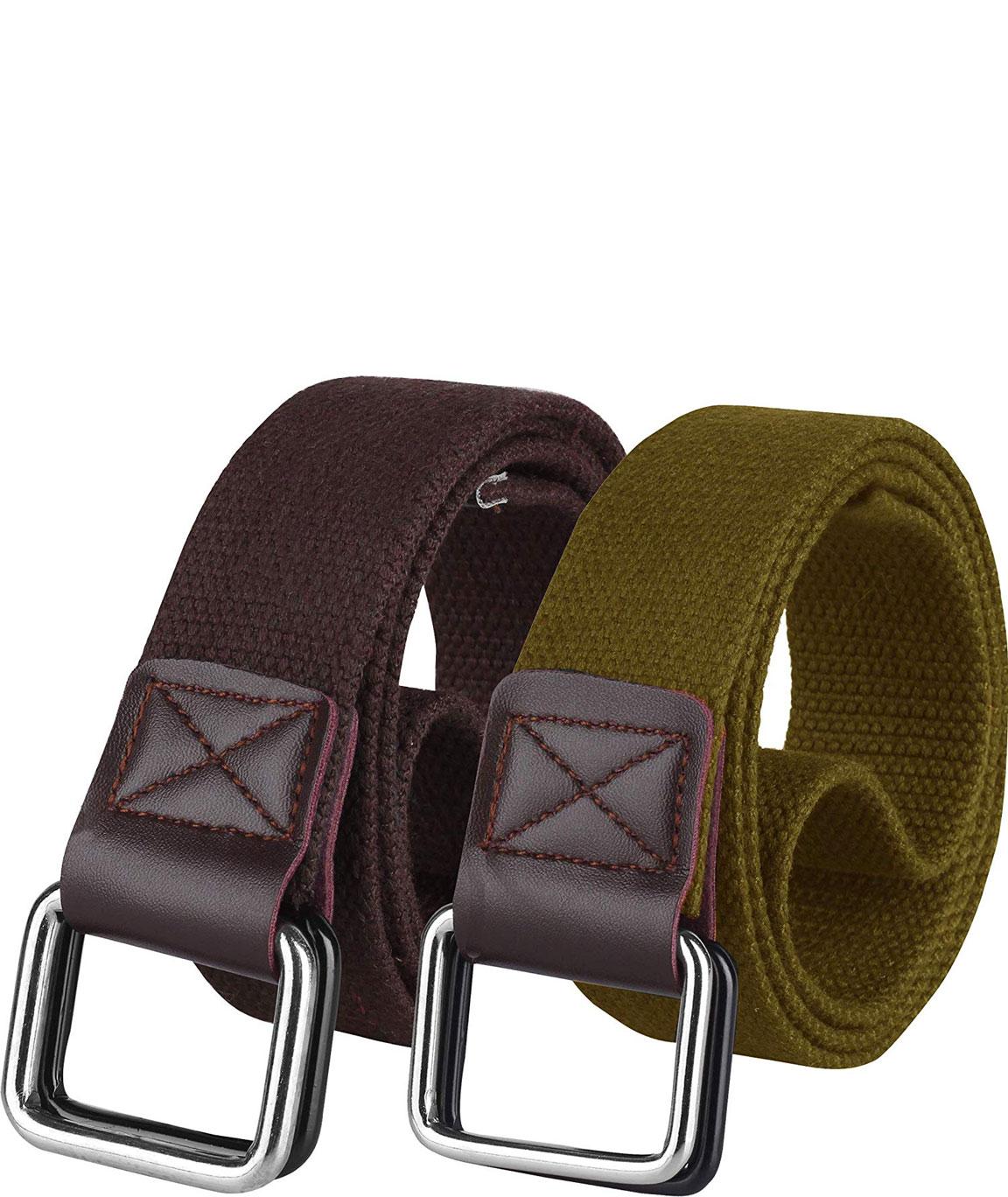 ZORO Cotton belt for men, belts for men under 200, gift for gents, belt for men stylish, gents belt, mens belt tan, blue, green, brown and khaki color CB40-40-2PC