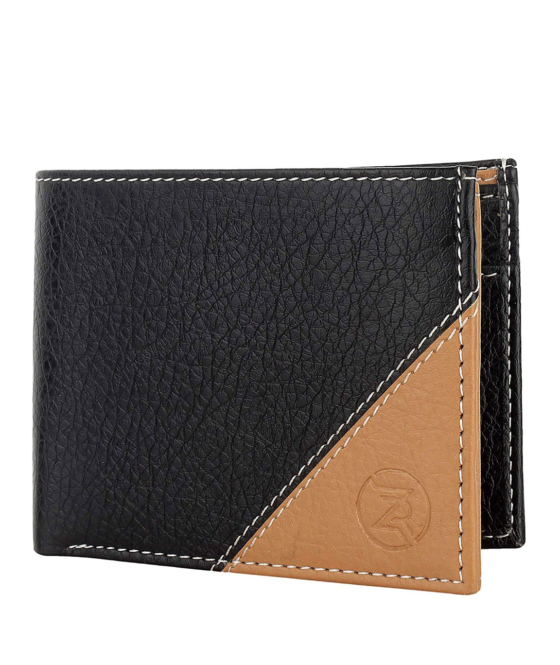 ZORO Men`s PU Leather Card Wallet (Black Beige)