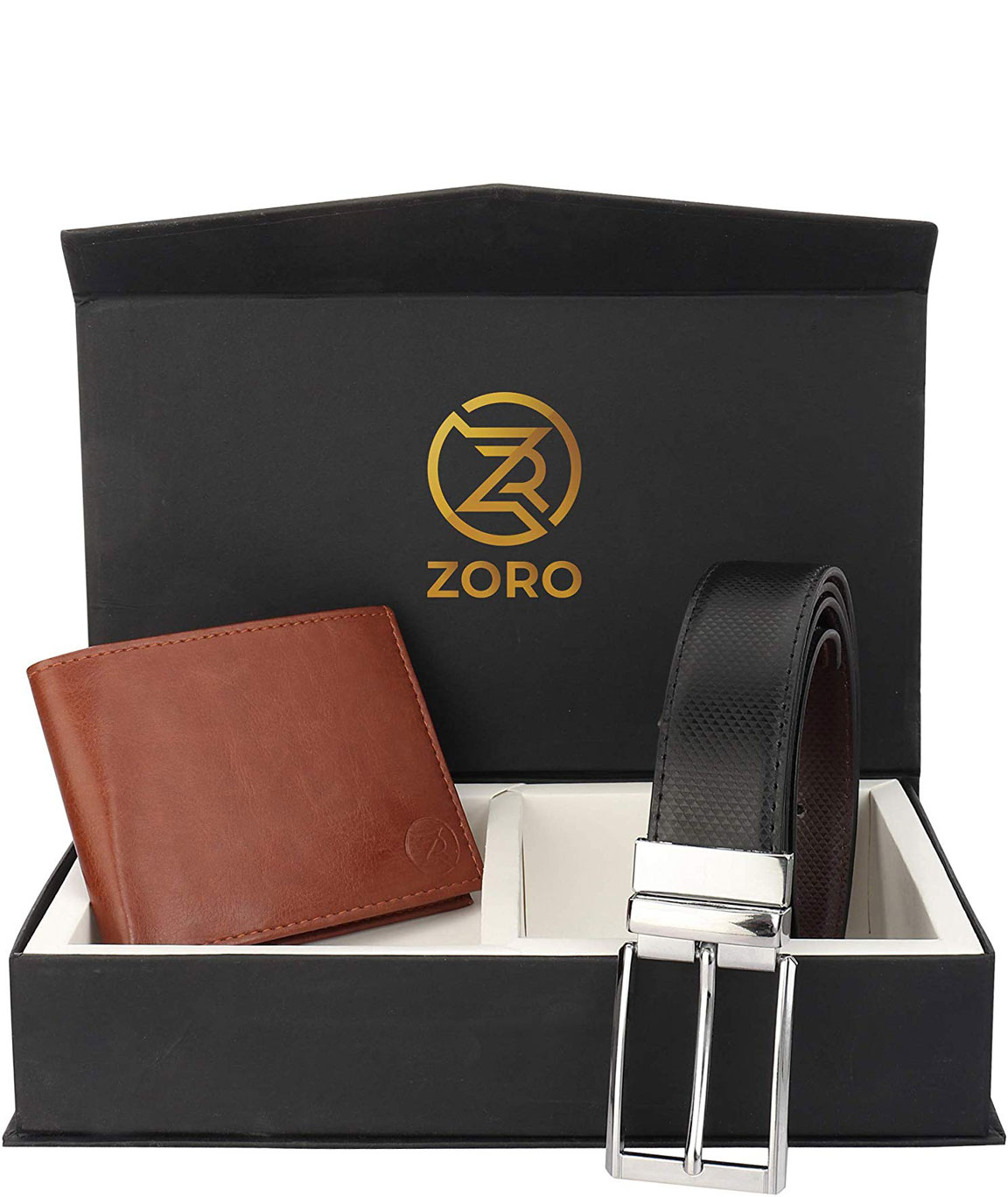 ZORO Reversible PU belt and wallet combo, formal black and brown reversible belt, gift for mens, gents belt, mens wallet ZR-CR04T-101T