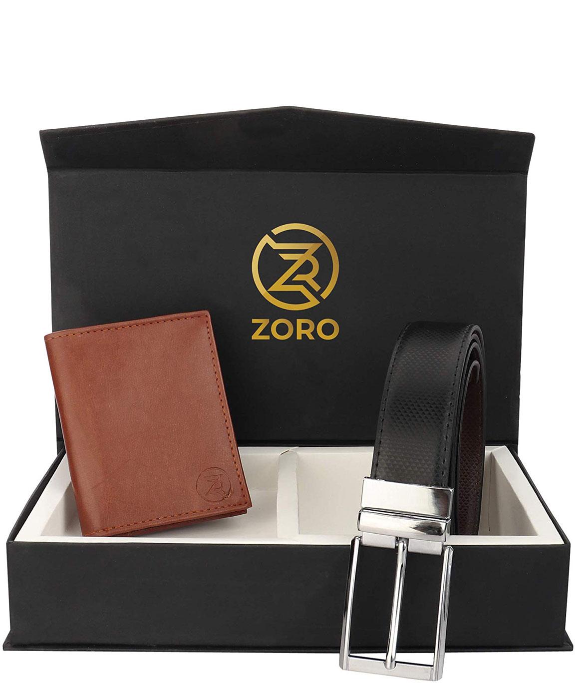 ZORO Reversible PU belt and wallet combo, formal black and brown reversible belt, gift for mens, gents belt, mens wallet ZR-CR04T-39T