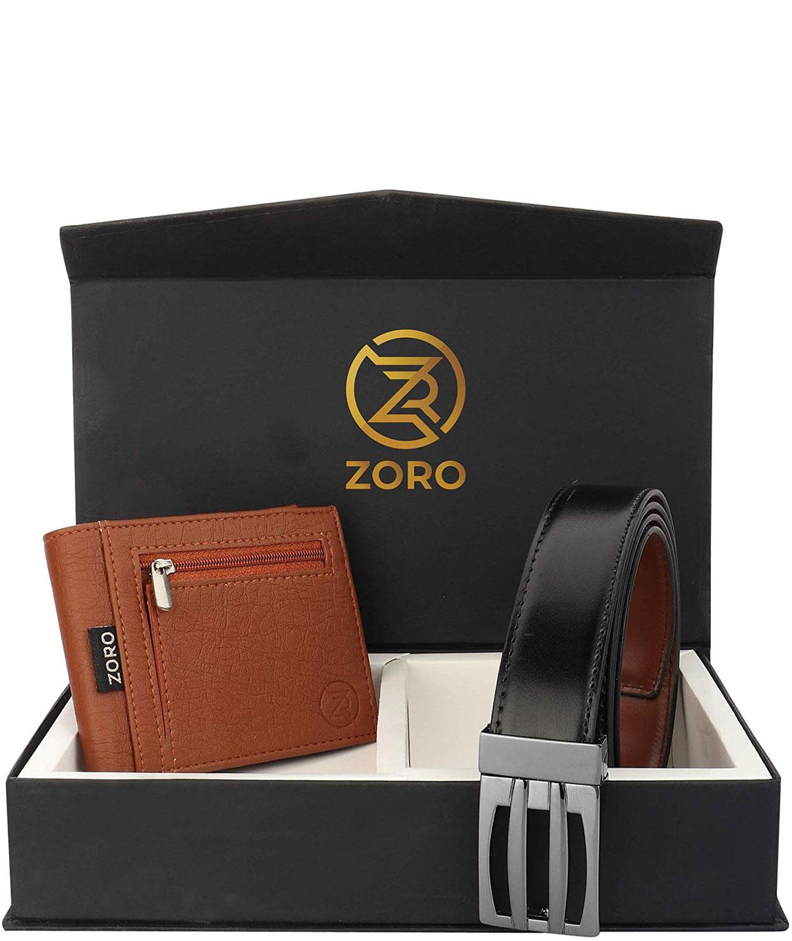 ZORO Reversible PU belt and wallet combo, formal black and brown reversible belt, gift for mens, gents belt, mens wallet ZR-TX01-109T