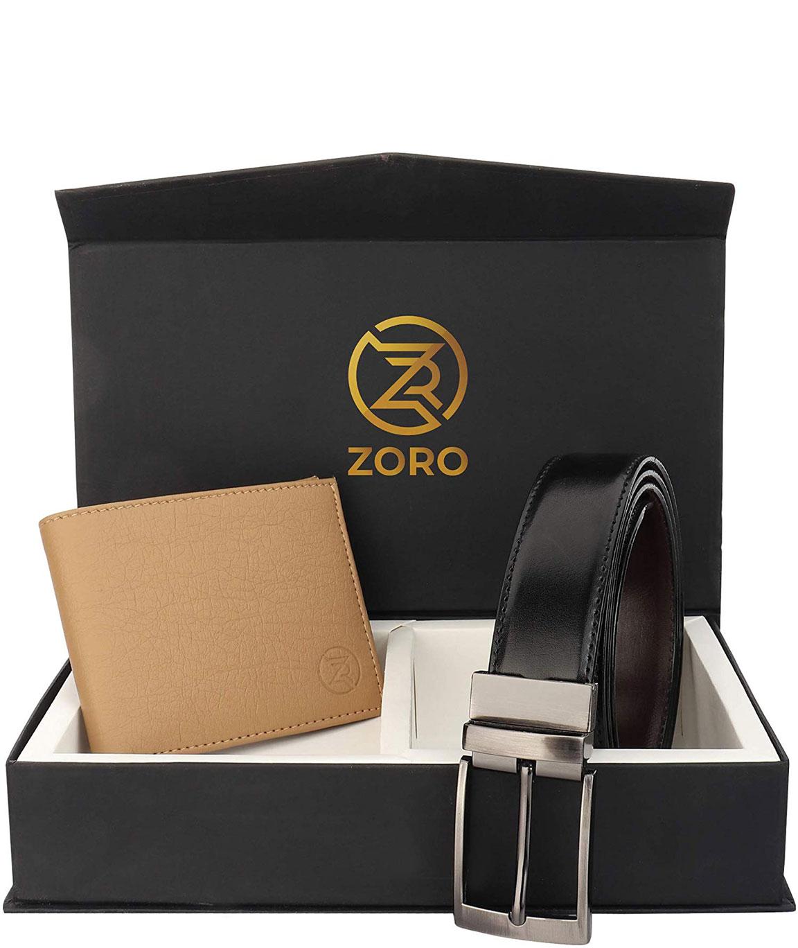 ZORO Reversible PU belt and wallet combo, formal black and brown reversible belt, gift for mens, gents belt, mens wallet ZR-TX01-31K
