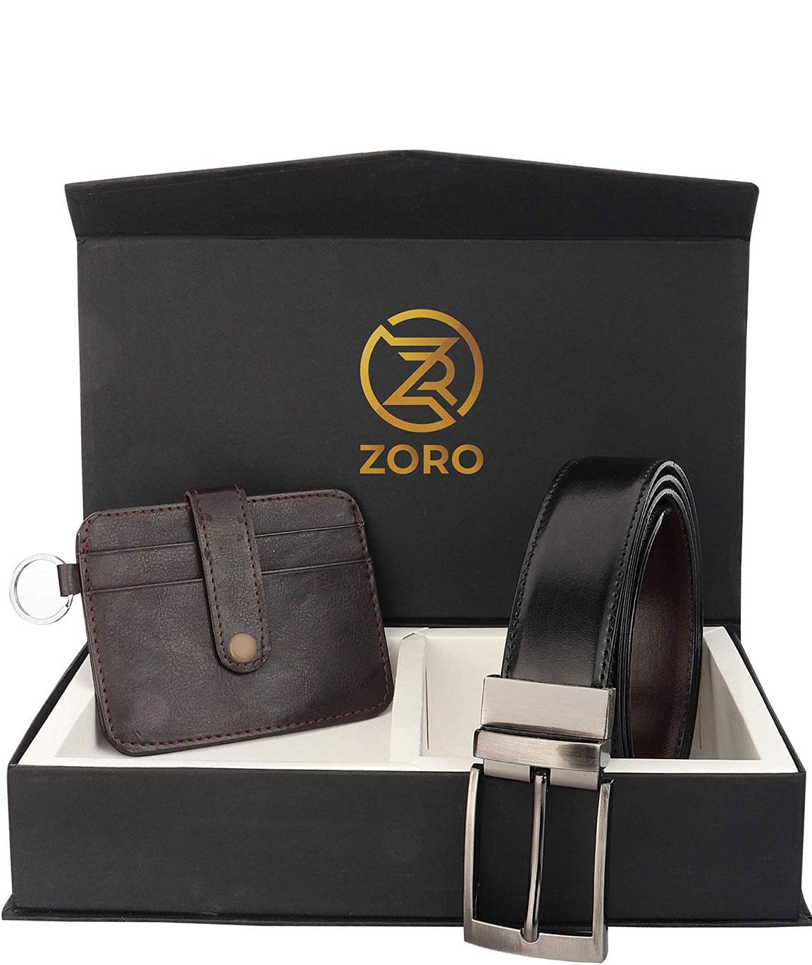 ZORO Reversible PU belt and wallet combo, formal black and brown reversible belt, gift for mens, gents belt, mens wallet ZR-TX01-41R