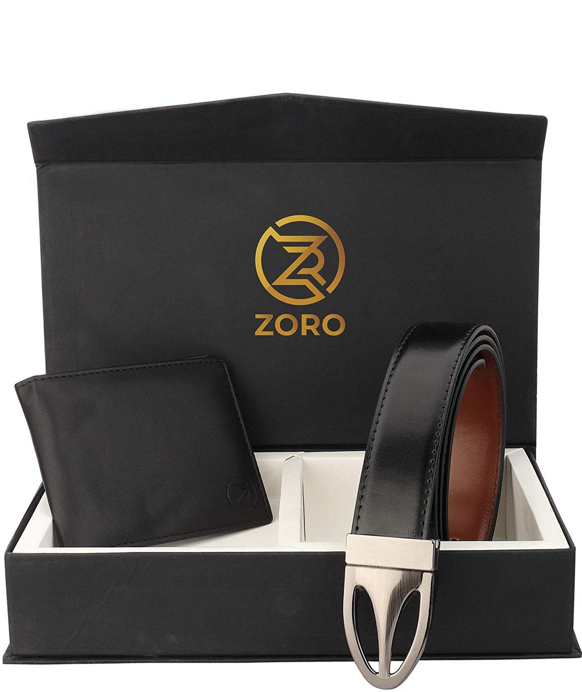 ZORO Reversible PU belt and wallet combo, formal black and brown reversible belt, gift for mens, gents belt, mens wallet ZR-TX07H-31K