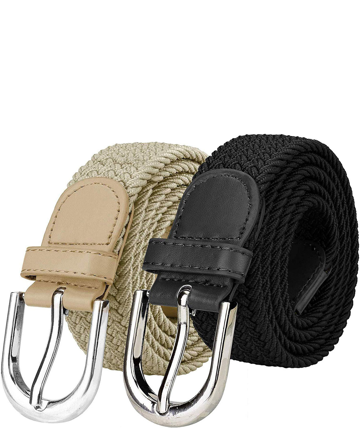 ZORO Stretchable braided cotton belt for women, ladies belt, grey, Blue, brown and green color Combo of 2 pcs