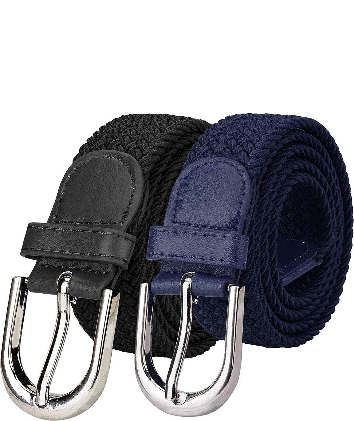 ZORO Stretchable braided cotton belt for women, ladies belt, grey, Blue, brown/tan and green color Combo of 2 pcs